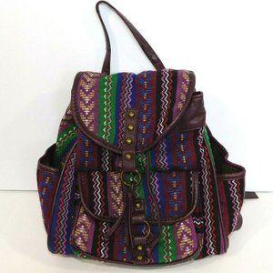 Purple Boho Embroidered Backpack knapsack